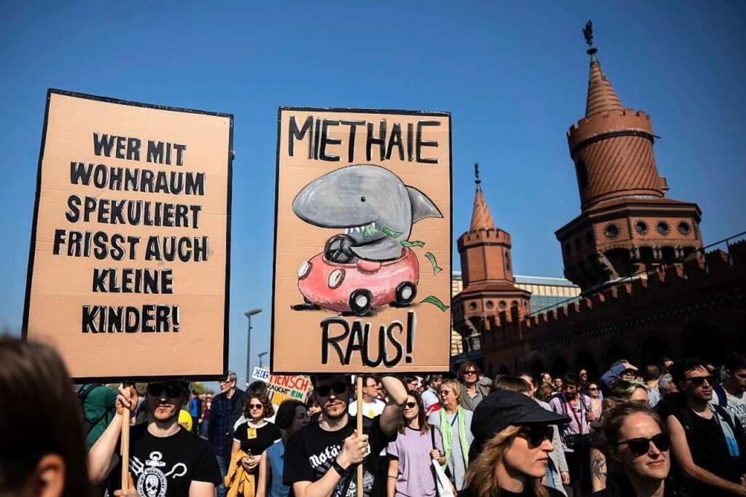 Am vergangenen Wochenende demonstriert...de für die Regulation des Mietmarktes.  | Foto: dpa