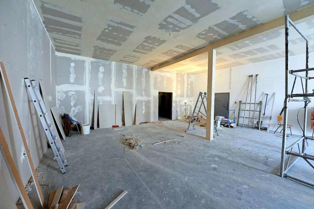 Der Seminarraum ist schon erkennbar, aber noch längst nicht fertig.  | Foto: Ingo Schneider