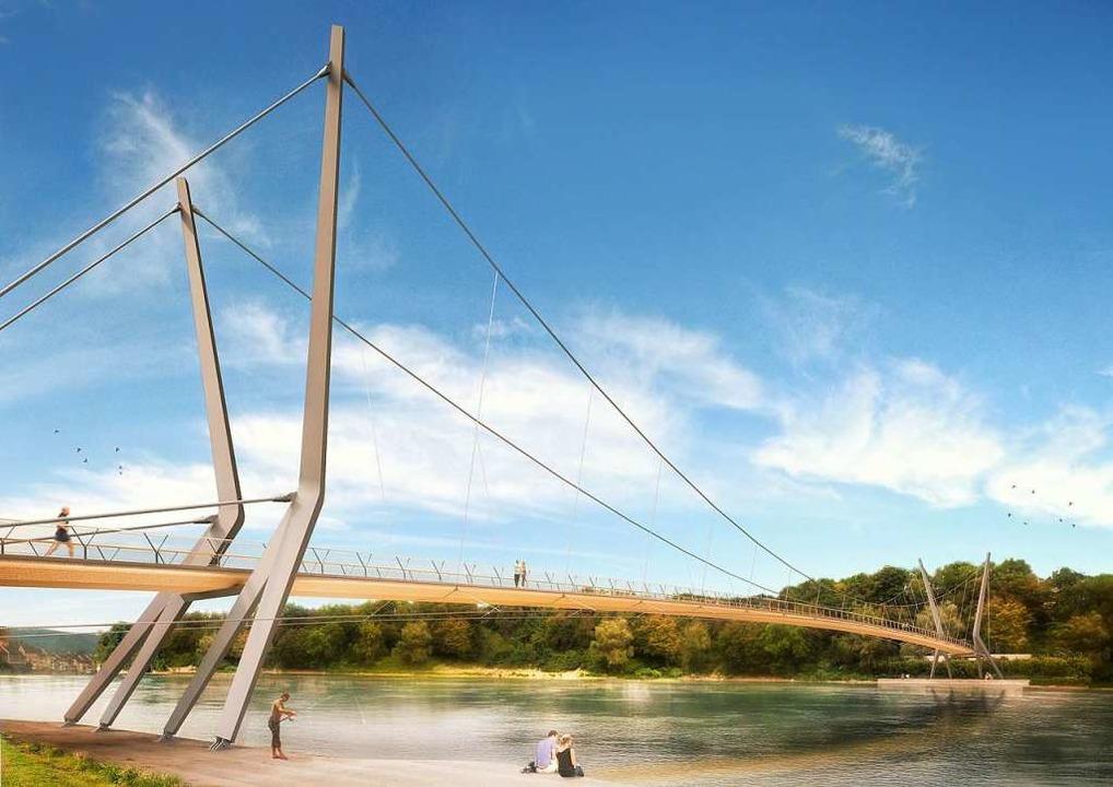 Visualisierung des geplanten Rheinstegs  | Foto: Render-Manufaktur, IB Miebach