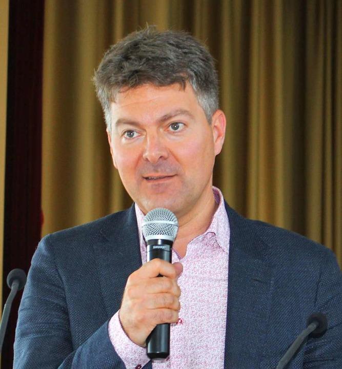 Andreas Schwab bei seiner Rede beim Kr...uss für Binennmarkt und Wirtschaft an.  | Foto: Rolf Reißmann