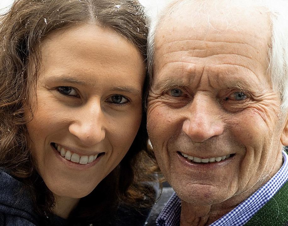 Zwei, die sich mögen: Weltmeisterin Ramona Straub und Olympiasieger Georg Thoma  | Foto: Wolfgang Scheu
