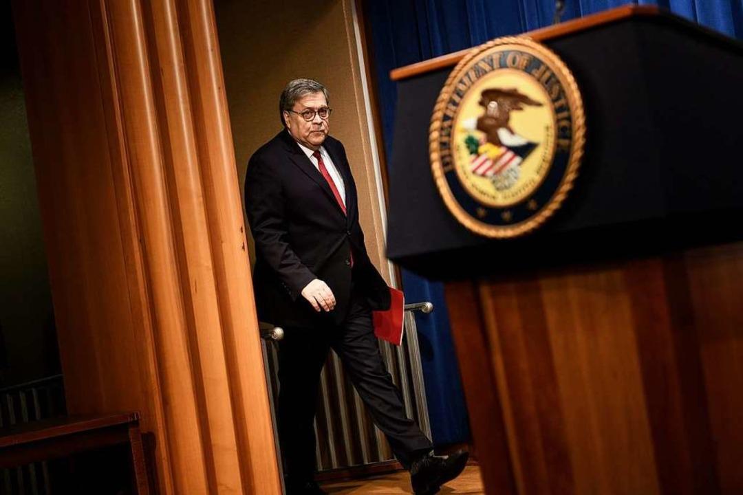 William Barr, US-Justizminister, sagt,...bstriche mit Muellers Team kooperiert.  | Foto: AFP