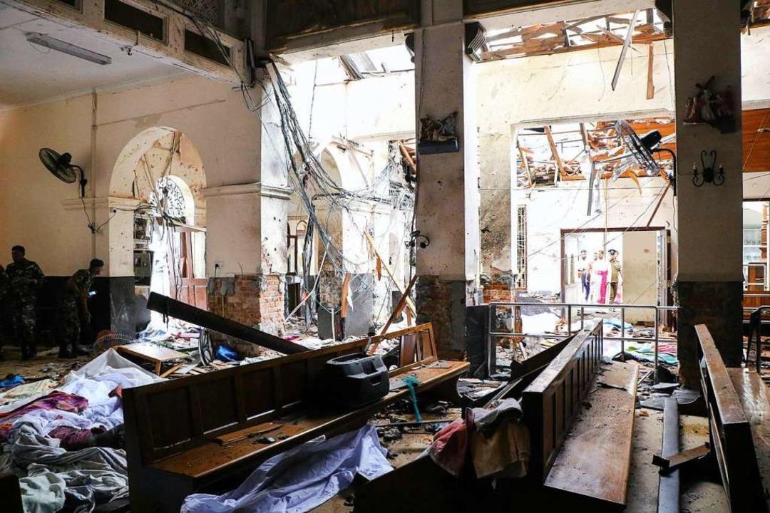 Eine vom Anschlag verwüstete Kirche.  | Foto: AFP