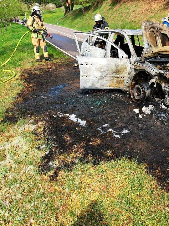 Dieses Auto brannte am Ostersonntag völlig aus.  | Foto: Feuerwehr Elzach