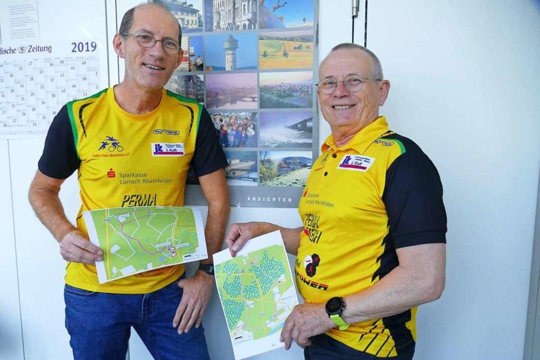 Hans Winzen (links) und Reinhard Börne...den Sparkassen-Triathlon neu angelegt.  | Foto: Ingrid Böhm-Jacob