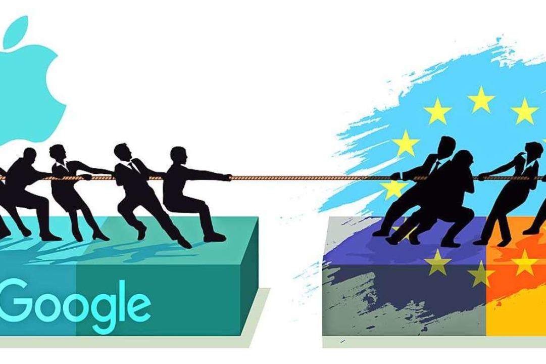 US-Techkonzerne und die EU ringen um die Höhe der Steuerlast.   | Foto: Grafik Uli Zellmann/Foto: Scusi /Adobe.Com