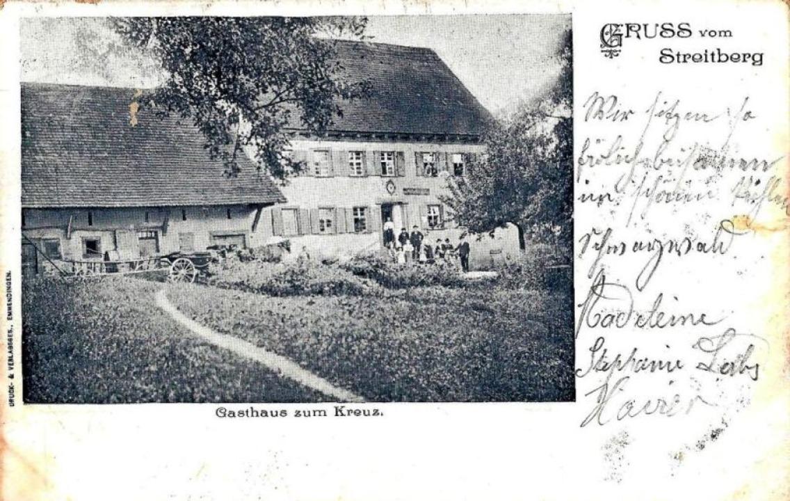 Ein Gruß vom Streitberg mit dem Gasthaus Kreuz (1907)  | Foto: Manfred Eble