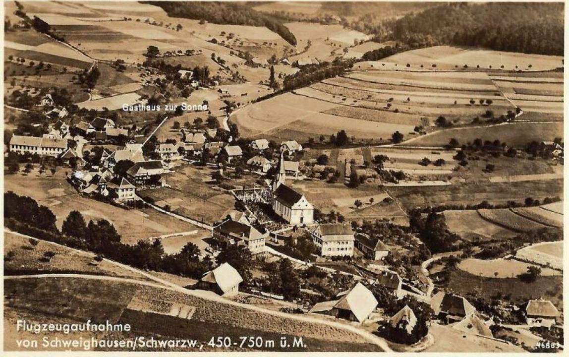 Eine Luftaufnahme auf einer Postkarte  aus dem Jahr 1956  | Foto: Manfred Eble