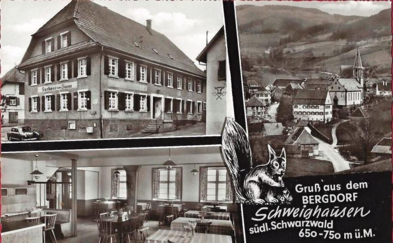 Das Gasthaus Sonne wirbt 1960 für sich und den Ort.  | Foto: Manfred Eble