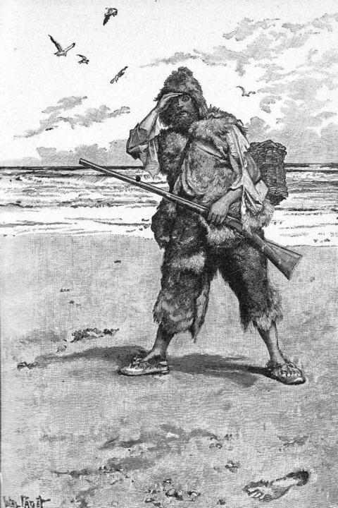 So sah der Zeichner  Walter Pagets den...n Robinson Crusoe  im 19. Jahrhundert.  | Foto: -