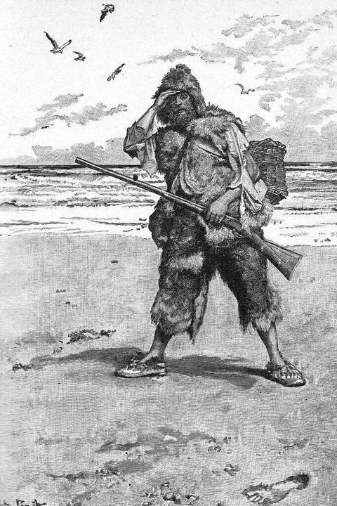 So zeichnete der tschechische Künstler...t den Schiffbrüchigen Robinson Crusoe.  | Foto: -