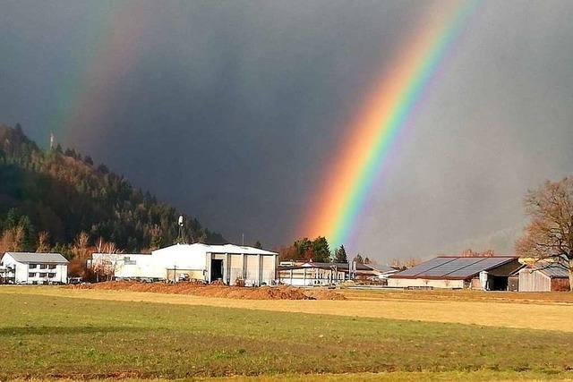Toller Märzregenbogen über Langenau