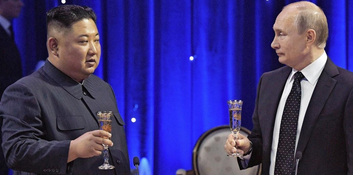 Nordkoreas Machthaber Kim Jong-un und der russische Präsident Wladimir Putin  | Foto: dpa
