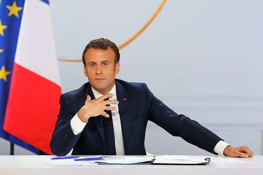 Emmanuel Macron erläutert am Donnerstag seine Reformpläne.  | Foto: AFP