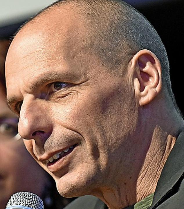 Yanis Varoufakis beim Wahlkampfauftritt in Freiburg.   | Foto:  ymb