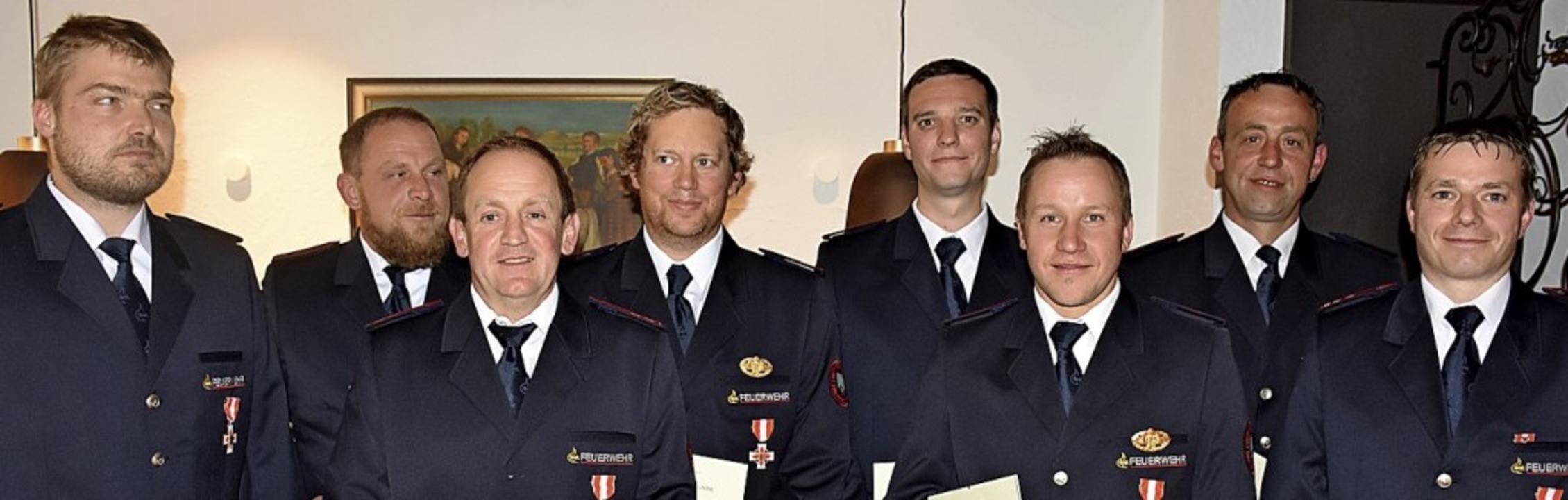 Geehrt (von links): Dennis Unmüßig, Wo..., Florian Steiert und Markus Metzler.   | Foto: Thomas Biniossek