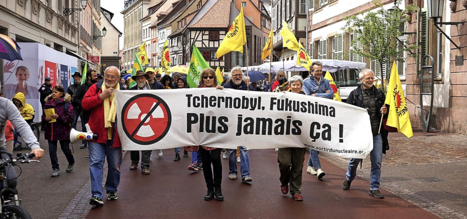 Der Demonstrationszug in der Colmarer Altstadt   | Foto: Steckmeister