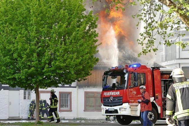 Brand bei Alter Feuerwache in Lörrach