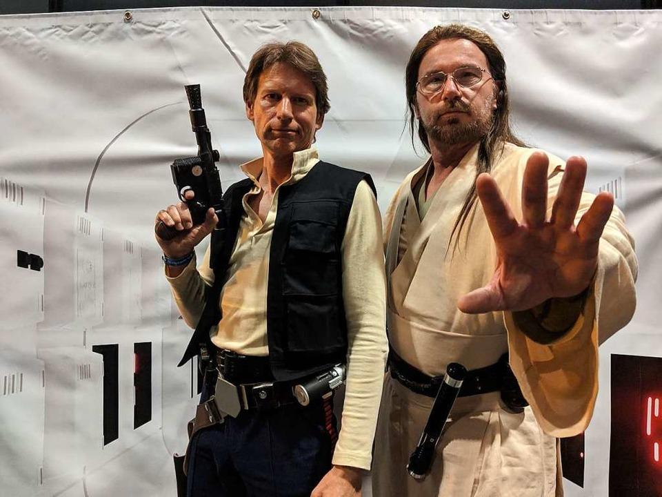Sie stehen auf der guten Seite der Mac...ker stellen Figuren aus Star Wars dar.  | Foto: Achim Fehrenbach
