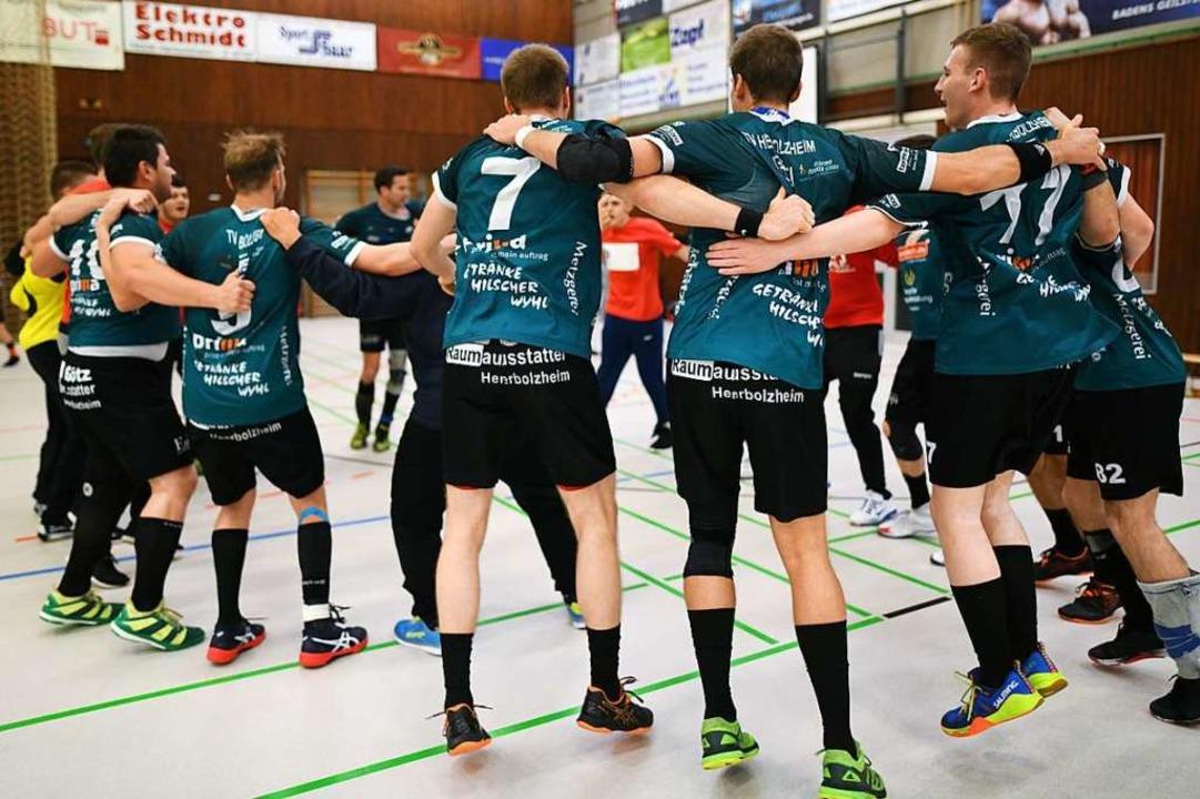 So feiert der TVH den Landesliga-Titel nach dem finalen Sieg gegen Meßkirch.  | Foto: Patrick Seeger
