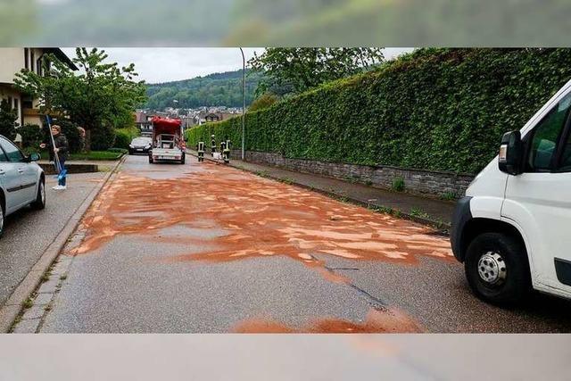 Ölspur beschert der Feuerwehr Waldkirch vier Stunden Arbeit