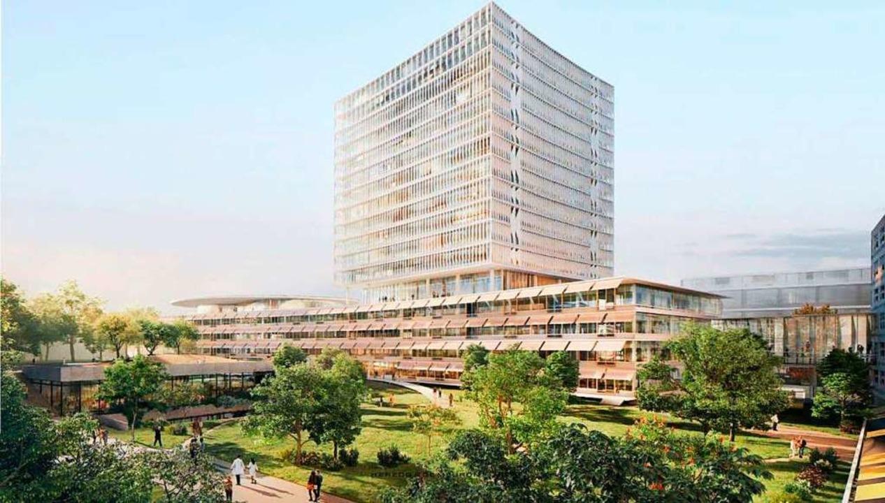 Der geplante Neubau des Unispitals mit...Herzstück des Areals erhalten bleibt.   | Foto: Visualisierung: Herzog de Meuron/Rapp
