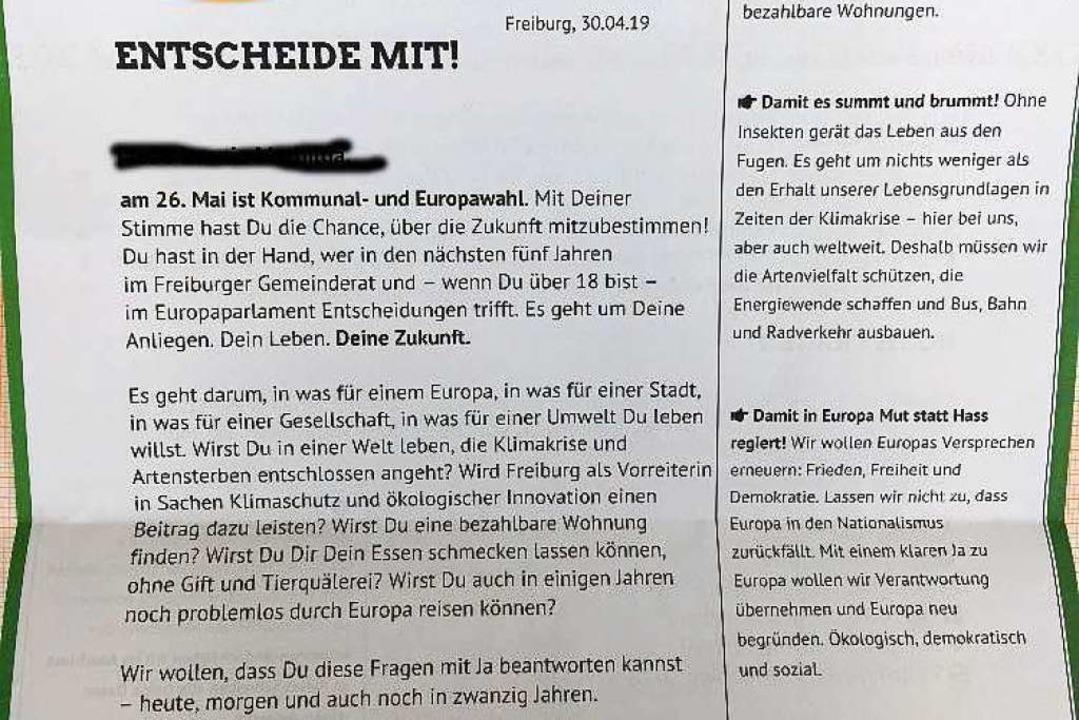 Auch Kleinkinder haben in Freiburg Wahlwerbung von den Grünen erhalten  | Foto: Alexandra Röderer