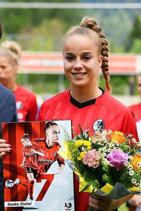 Nationalspielerin Giulia Gwinn geht eb...Trainer Scheuer zum FC Bayern München.  | Foto: Patrick Seeger