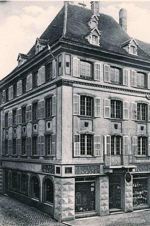 Das Geschäftshaus der Firma Gebrüder G... historischen Aufnahme links zu sehen.  | Foto: Archiv Manfred Gallo