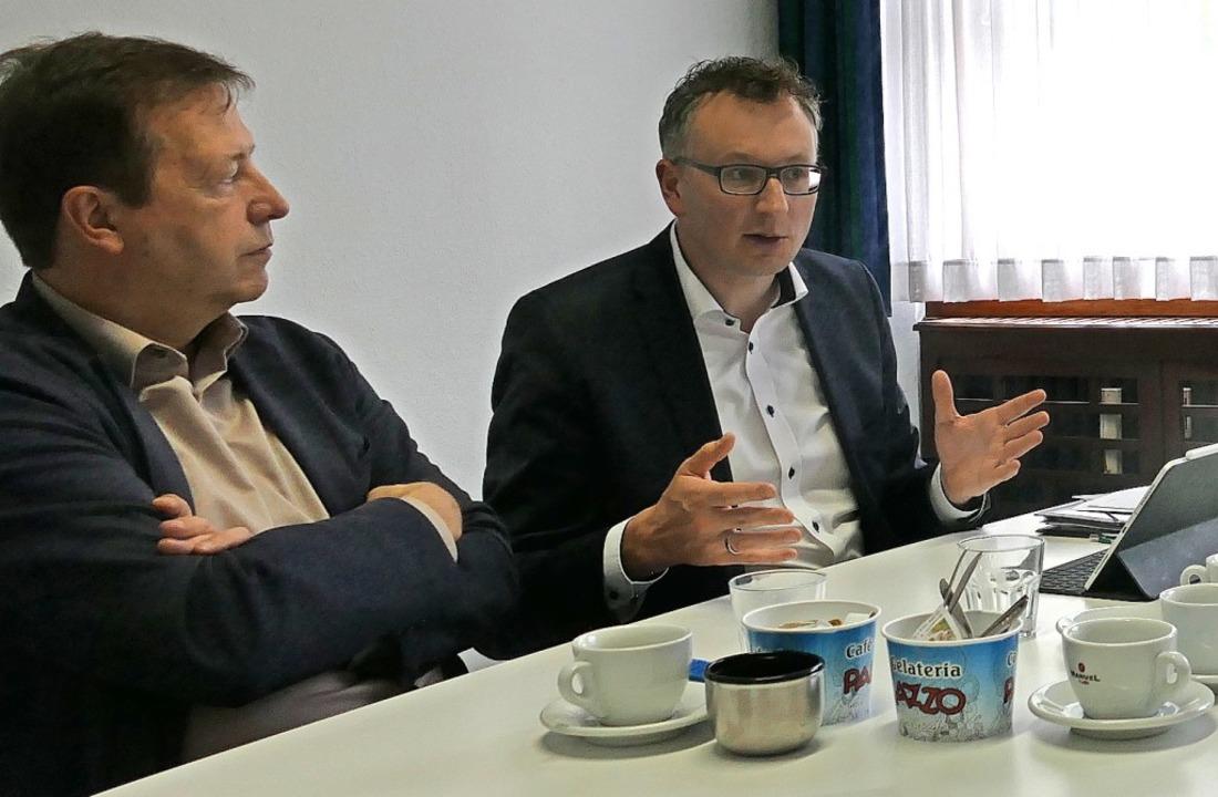 Thomas Marwein, Offenburger Grünen-Lan...reas Schwarz beim BZ-Redaktionsbesuch.