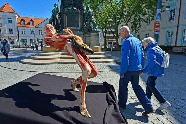 Video: Freiburger Passanten reagieren gespalten auf Körperwelten-Exponat
