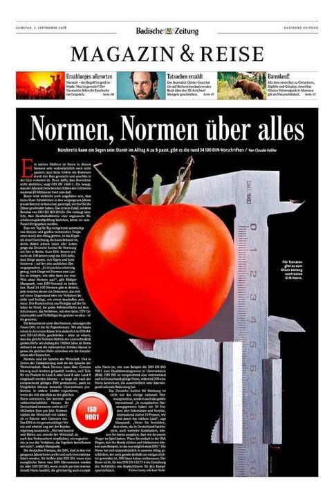 Das Magazin vom 1. September 2018, das...ema Normen in den Mittelpunkt stellte.  | Foto: bz