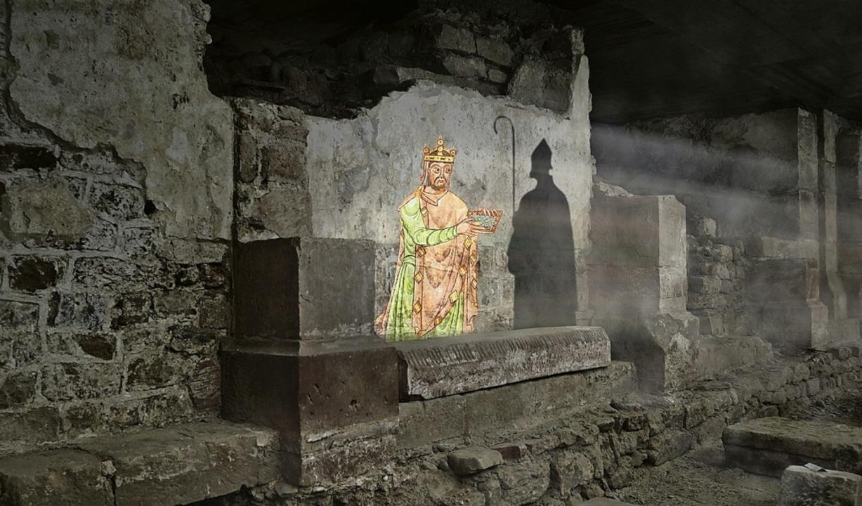 Die mediale Inszenierung in der Krypta... Adalbero II. und Kaiser Heinrich II.   | Foto: Archäologische Bodenforschung Basel-Stadt
