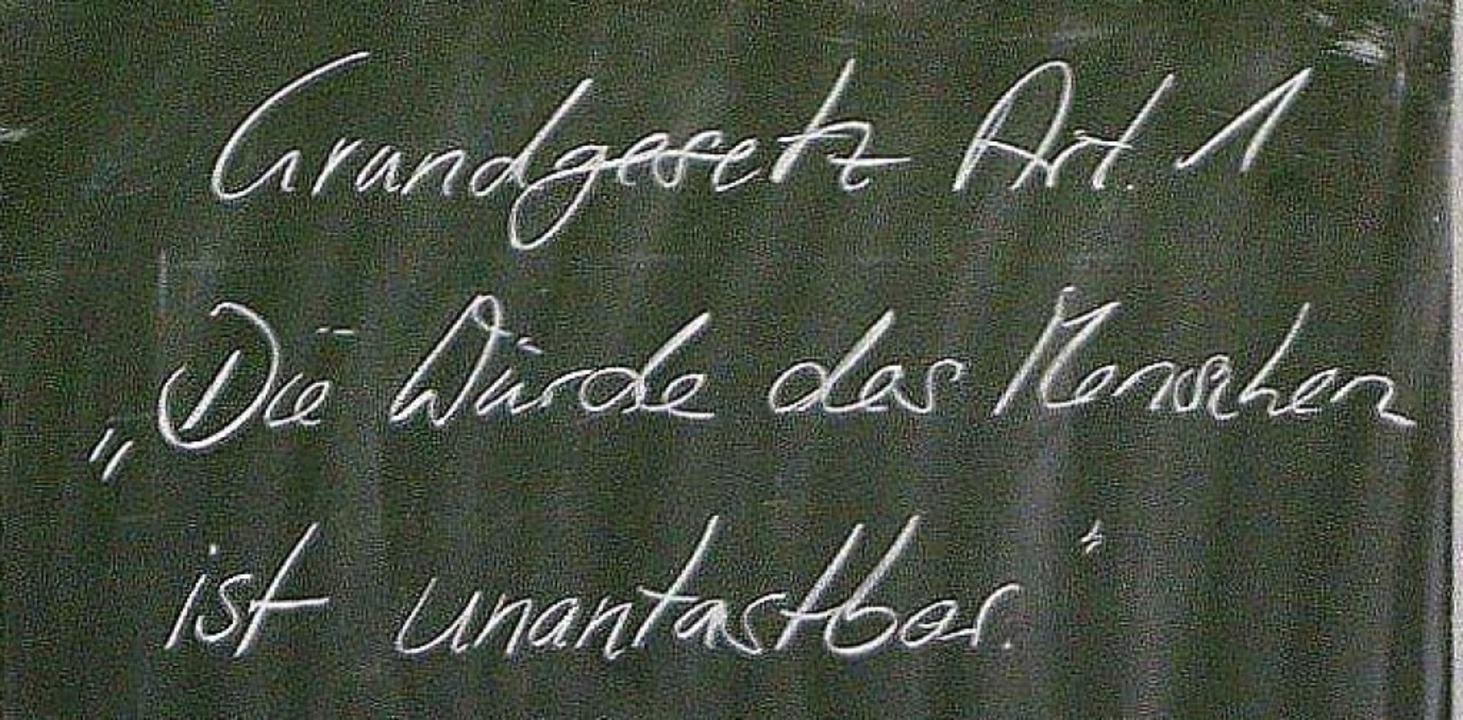 Ein Satz, der es in sich hat – auch wenn er einfach daher kommt.  | Foto: Thomas Kunz