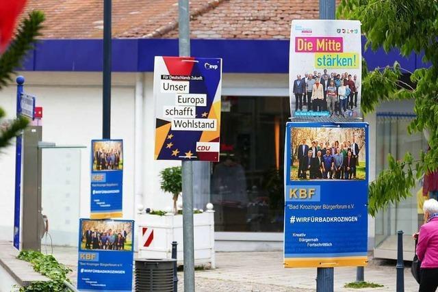 Nicht nur lächelnde Kandidaten auf Wahlplakaten in Bad Krozingen