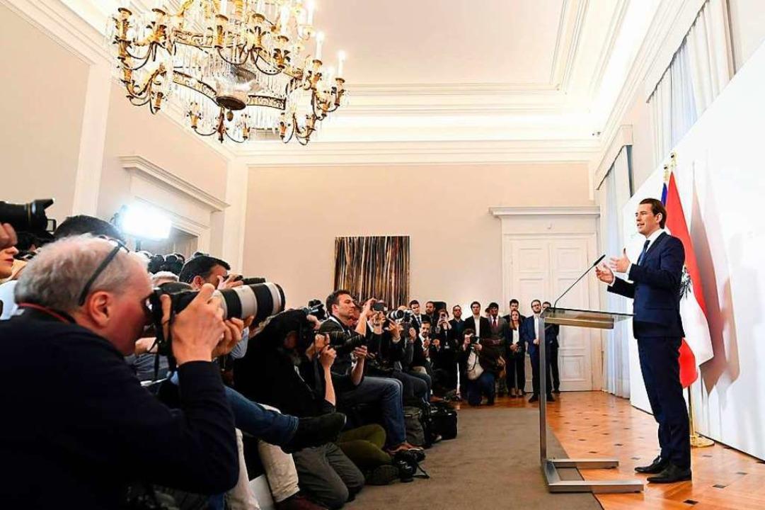 Sebastian Kurz, Bundeskanzler von Öste...rechtspopulistischen FPÖ aufgekündigt.  | Foto: Helmut Fohringer (dpa)