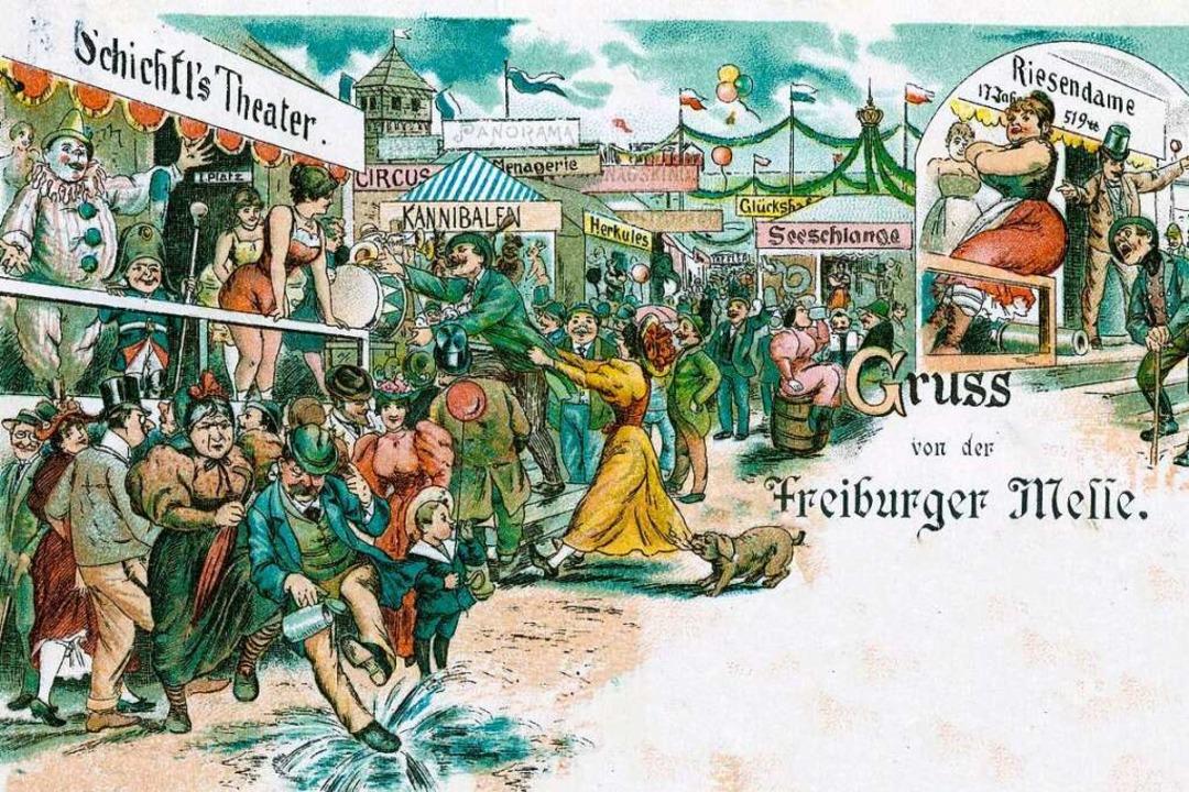Das Treiben auf der Freiburger Mess&#8...linger Kirchplatz Freiburgs Messplatz.  | Foto: Archiv Manfred Gallo