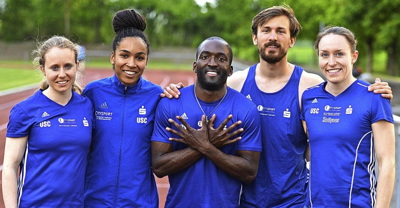 Das Sprintteam des USC Freiburg (von l... Alves, David Simonis und Sabine Storz    Foto: Murst
