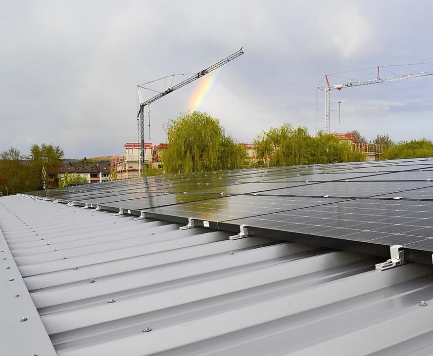 Flach auf dem Dach der Tribüne des Fri...nschaft, so dass sie kaum zu sehen ist    Foto: Markus Zimmermann