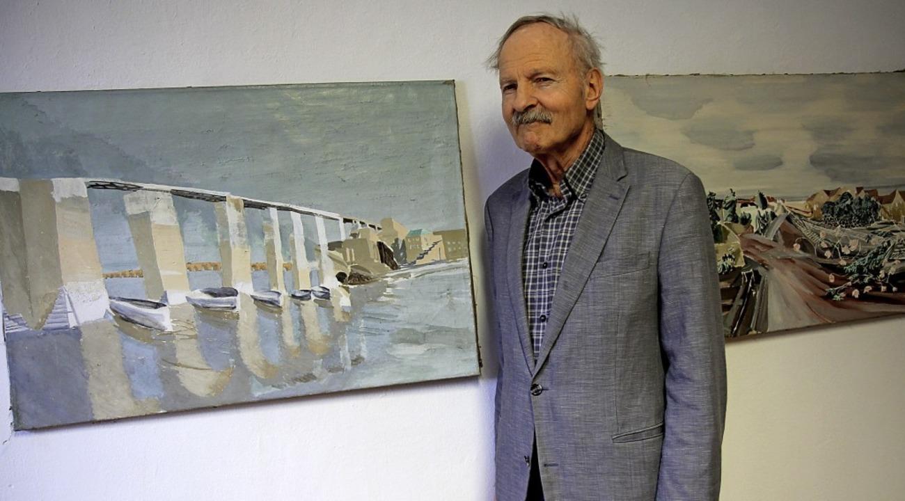 Zeigt seine Bilder in der Ausstellung ...Tor: Jürgen Giersch bei der Vernissage  | Foto: Dagmar Barber