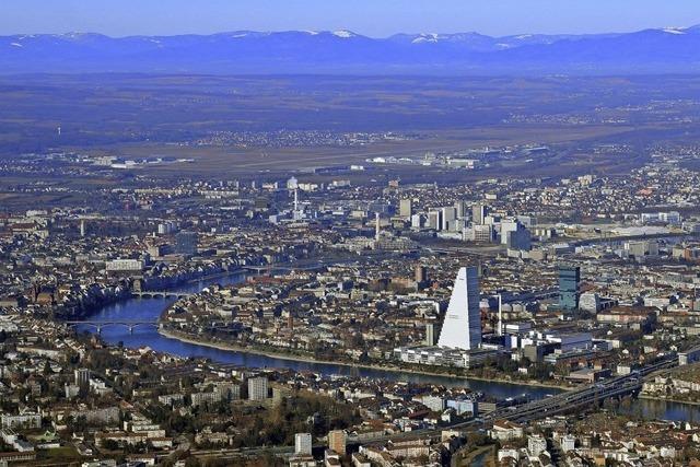 Die Region von oben: Das Rheinknie in Basel