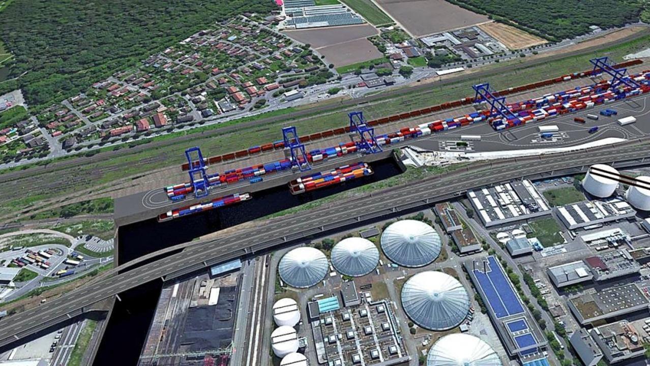Das trimodale Containerterminal Gatewa...r Stadtteil Otterbach am oberen Rand.     Foto: SRH