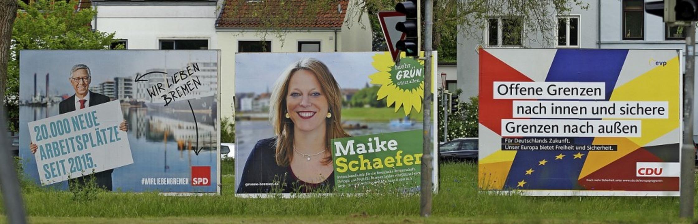 Wohin geht die Reise in Bremen? Wahlplakate von SPD, Grünen und CDU  | Foto: Eckhard Stengel