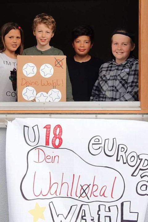 An der U-18-Europawahl in Ebringen  be... Quentin (8), Iago (11) und Levi (11).  | Foto: Sarah Schädler
