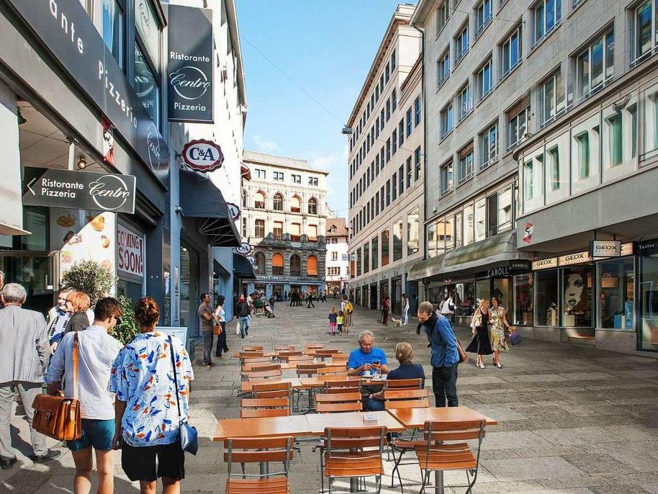 Entwurf für die Neugestaltung der Basler Innenstadt.  | Foto: Bastian Müller