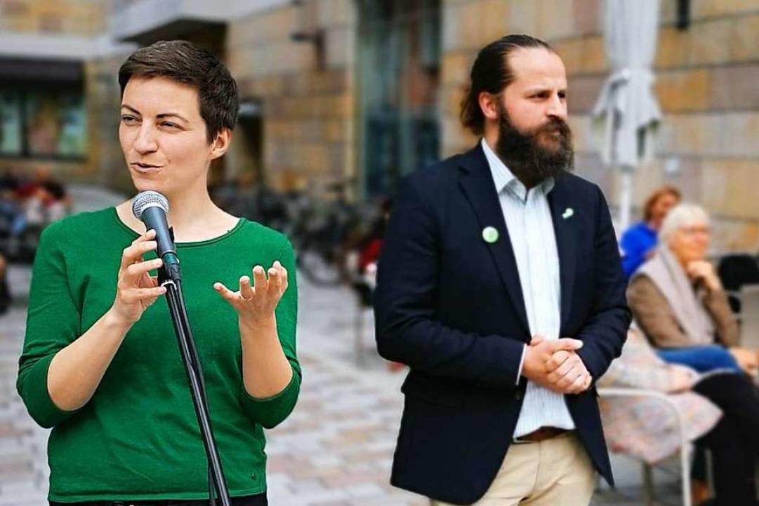 Ska Keller bei ihrer Wahlkampfrede auf...-Ortenau-Sprecher  Domenic Preukschas.  | Foto: Ralf Burgmaier
