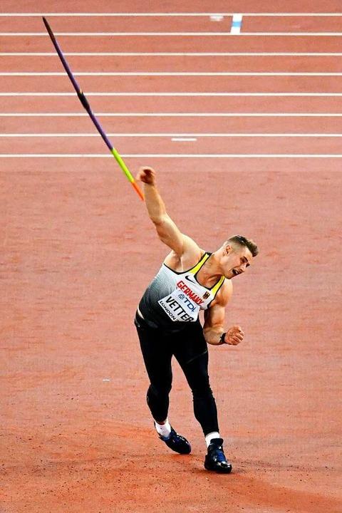 Johannes Vetter beim  WM-Sieg 2017 in London   | Foto: ANTONIN THUILLIER