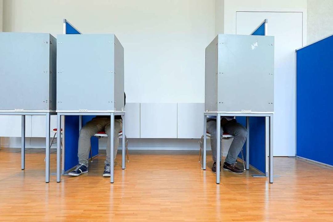 Wahlkabinen im Neuen Rathaus im Stühli... die Kommunal- und Europawahl abgeben.  | Foto: Ingo Schneider