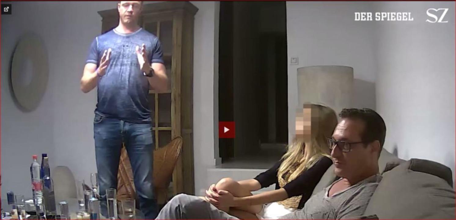 Der Screenshot aus einem Video, das de... Ausführungen Straches ins Russische.   | Foto: - (dpa)