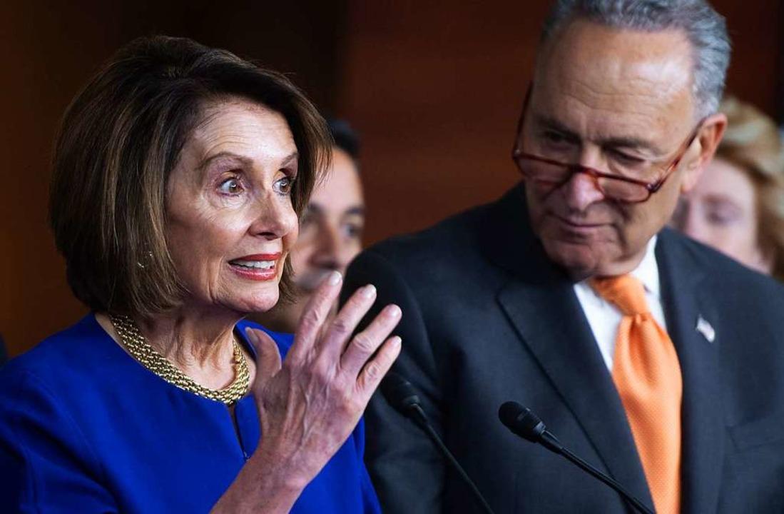 Nancy Pelosi, die Grande Dame des Parl...beim Thema Impeachment auf die Bremse.    Foto: SAUL LOEB (AFP)